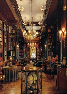 elegant home for books--- I Seriously want this library!!! All that's missing is a rolling ladder for the higher books! Ho hum!