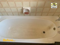 Our brilliant TEAM recently repaired and restored this badly stained bathtub, including the repairs to the severe stress fractures along the bottom of the bathtub. The Soap Dish was resurfaced too. Stress Fracture, Restoration, Bathtub, Dish, Soap, Standing Bath, Bathtubs, Bath Tube, Bar Soap