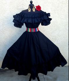 MEXICAN FIESTA,5 DE MAYO,WEDDING BLACK DRESS OFF SHOULDER 2 PIECE W/SARAPE SASH