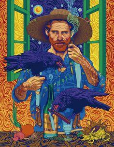 "A psychedelic take on the Dutch Post-Impressionist painter presents Van Gogh in swirling, vivid lights. ""Vincent van Gogh"" by ROSENFELDTOWN Arte Pop, Art And Illustration, Portrait Illustration, Vincent Van Gogh, Van Gogh Wallpaper, Hd Wallpaper, Wallpapers, Van Gogh Pinturas, Van Gogh Art"