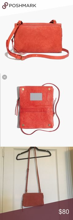 NWOT Madewell twin pouch leather crossbody NWOT Madewell twin pouch cross body, bright red color, brand new , never used! Madewell Bags Crossbody Bags