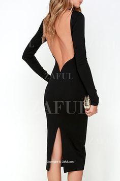 Slimming Long Sleeves Backless Pure Color Dress BLACK: Long Sleeve Dresses | ZAFUL