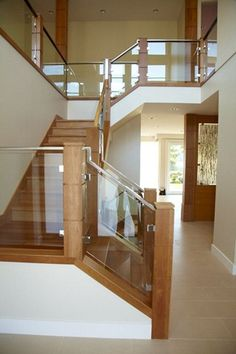 10mm clear tempered glass stair railing with brushed - Escaleras rusticas ...