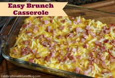 Easy Breakfast Casserole 4 cups frozen shredded hashbrowns, thawed 2 Tablespoons dried onion flakes 1 package Canadian bacon slices {about 8...