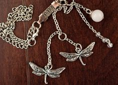 Dragonflies in Moonlight Car or Home Hanging Charm with Tibetan Silver Dragonfly charms, Swarovski Crystal Beads & White Jade Bead