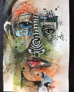 "Deb Weiers - ""When Compassion is Love her work` Abstract Faces, Abstract Portrait, Abstract Art, Painting Collage, Collage Art, Paintings, A Level Art, Maquillage Halloween, Art Sketchbook"