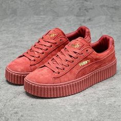 6c02d8a1769c Cheapest Puma x Rihanna WMNS Creeper Suede Leather All Red Burgundy Youth  Big Boys Shoes