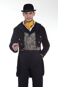 Feel like a Victorian gentleman in our Gentleman's Tailcoat. It is your quintessential attire for a grand ball. This long coat in black cotton velvet has been lined with satin to give it a truly Victorian feel. The lapels are also of satin. The front has been decorated with six metal buttons and ...