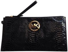 Amazon.com: Michael Kors Fulton Embossed Leather Large Zip Clutch Black