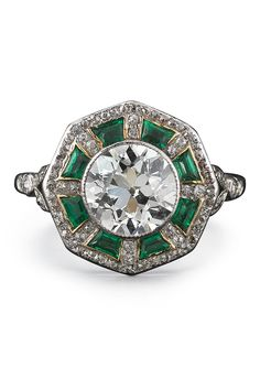 Fred Leighton Old European Cut Diamond and Emerald Ring