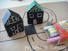 chalkboard paint block village - An idea on Tuesday: Play on Tuesday