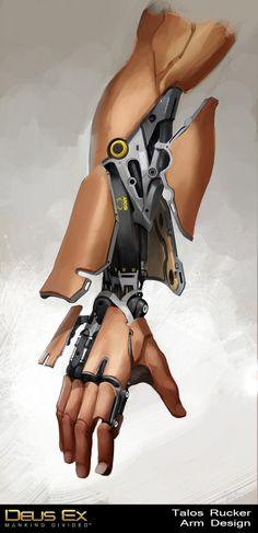 """Bruno Gauthier Leblanc's """"Talos' Augmented Arm"""" from Eidos Montreal's """"Deus Ex: Mankind Divided"""" cyborg Character Concept, Character Art, Marvel Dc, Deus Ex Mankind Divided, Mechanical Arm, Arte Cyberpunk, Cyberpunk Aesthetic, Cyberpunk 2077, Robot Concept Art"""