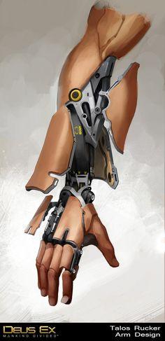 Deus Ex Mankind Divided - Talos Rucker Arm, Bruno Gauthier Leblanc on ArtStation at https://www.artstation.com/artwork/mankind-divided-talos-rucker-arm