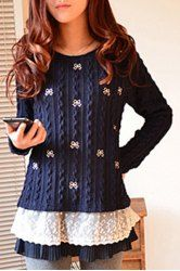 Stylish Jewel Neck Long Sleeve Lace Spliced Loose-Fitting Women's Sweater