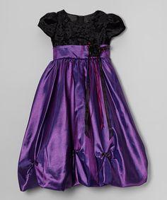 Another great find on #zulily! Purple & Black Velvet Dress - Toddler & Girls #zulilyfinds