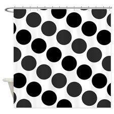 Large Black Dark Gray and White Polka Dots Shower for
