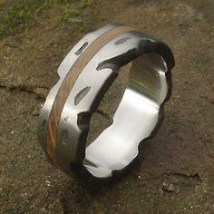 Wood Inlay Titanium Wedding Ring | LOVE2HAVE in the UK! Titanium Wedding Rings, Jewelry Rings, Jewellery, Precious Metals, Metal Working, Rings For Men, Jewelry Making, Texture, Wood