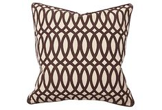 One Kings Lane - The Autumnal Home - Trellis 22x22 Pillow, Brown