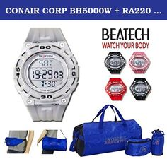 """CONAIR CORP BH5000W + RA220 9"""" x 2.7"""" x 1.6"""" White Sopra. BH5000W (Watch). Color: White. Heartbeat rate measurement function: Display dynamic pulse rate. Perpetual calendar function: Year value display ranges from 2000 to 2099 default value is January 1st 2009. 12-hour format. Alarm clock function: Triple alarm clock with alarm tone. Alarm sound duration: 60 seconds. Hourly chime function. Stopwatch function: Maximum value is 99 hours 59 minutes 59 seconds 99 with. SPL function included...."""