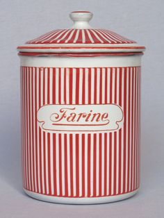 NEAR - MINT French Enamel Red & White Striped Flour Canister