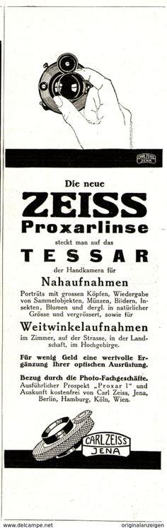 Werbung - Original-Werbung/ Anzeige 1926 - PROXARLINSE / TESSAR / CARL ZEISS JENA - ca. 65 x 220 mm