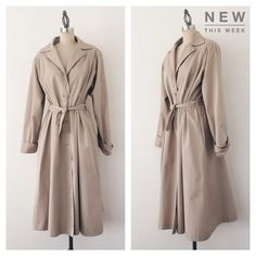 "VINTAGE | 80s Khaki Trench Coat Cue up the romantic, winter downpours just make sure your wardrobe is ready with this vintage khaki trench coat.   FEATURES:  * Pleating detail on shoulder  * French cuffs  * Hidden hip pockets  * Fully lined  * Belted waist  * 65% polyester 35% cotton  MEASUREMENTS: Bust - 42 1/2"" Waist - 38 1/2"" Length - 47"" Sleeve Length - 25""  ✅ Good vintage condition ⛔️ NO SWAPS/TRADES/RESERVES Vintage Jackets & Coats Trench Coats"