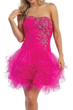 Latest Short Fuchsia Homecoming Dress Poofy Tulle Skirt Embroidery $177.99
