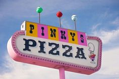 Googie Pinky's Pizza Sign Print American Graffiti Wall image 0