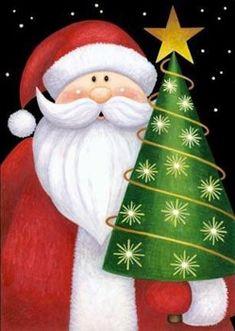 Santa and Star Needlepoint Canvas by Stephanie Stouffer Christmas Canvas, Noel Christmas, Christmas Signs, Christmas Pictures, Winter Christmas, Christmas Decorations, Christmas Ornaments, Christmas Graphics, Christmas Clipart