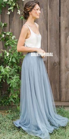 Two Pieces Tulle A-line Simple Designed Jersey Sleeveless Bridesmaid Dress #bridesmaiddresses #bridesmaiddress #bridesmaids #dressesformaidofhonor #weddingparty #2021bridesmaiddresses #2021wedding Inexpensive Bridesmaid Dresses, Plus Wedding Dresses, Summer Bridesmaid Dresses, Handmade Wedding Dresses, Western Wedding Dresses, Princess Wedding Dresses, Plus Size Wedding, Bridal Dresses, Bridesmaids
