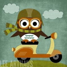 It doesn't bother me that an owl is riding a scooter. It bothers me that he is doing it sideways. ;)