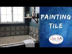 Revamp your bathroom with a simple Chalk Mineral Paint makeover! Jenni from Roots & Wings Furniture demonstrates how you can paint tile with Dixie Belle Pain. Pvc Wall Panels, Bathroom Wall Panels, New Paint Colors, Paint Color Palettes, Creative Wall Painting, Creative Walls, Painting Bathroom Tiles, Fitted Bathroom, Master Bathroom