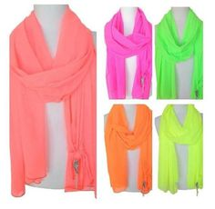 Neon scarves you can wear for the spring and cool summer nights.     www.donnicharm.com