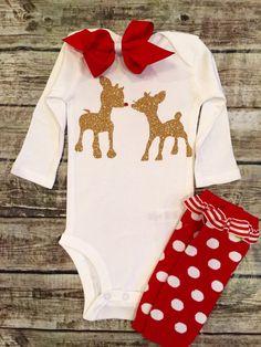 Christmas bodysuit, Rudolph The Reindeer bodysuit Baby Girl Christmas bodysuit Christmas Shirt, Rudolph shirt Onesie For Baby Girls