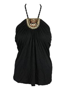 AJM Fashions: Cable & Gauge Womens Twisted Strap Embellished Halter Top  Price : $27.00 http://www.ajmfashions.com/Cable-Gauge-Womens-Twisted-Embellished/dp/B00AQNK2VI