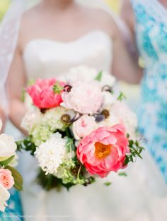 Garden Party wedding at the NC Arboretum, Asheville,NC. Florals by Flowers by Larry, dresses by Lilly Pulitzer and photography by Rachael McIntosh Photography.