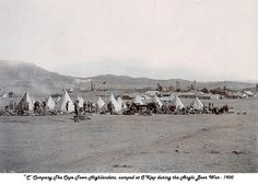 O'Kiep 1900 Cape Town Highlanders camp during the Boer War. Prisoners Of War, British Colonial, My Land, Military History, Cape Town, Old Photos, World War, South Africa, Old Things