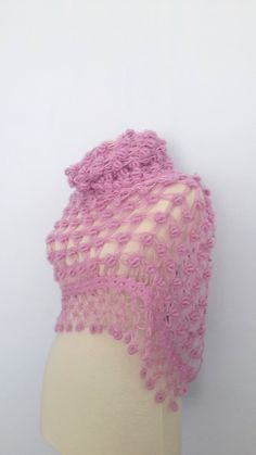 lilac colour shawl handmade scarf by modelknitting on Etsy