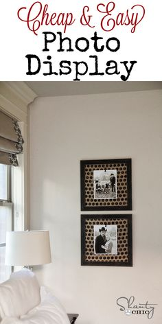 Super easy way to display photos!  LOVE the burlap fabric!