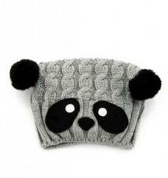 Panda Beret Wool Hat Knitting Grey / Gray Winter by paperfaces, $40.00