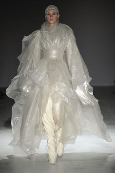 sculptural draping of translucent plastic sheeting Gareth Pugh