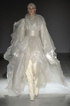 sculptural draping of translucent plastic sheeting Gareth Pugh