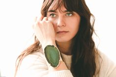 Green agate bracelet - agate cuff