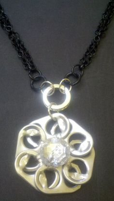 Black Chain & Silver Poptab Flower Necklace with a by Jewellori