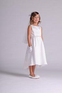 Flower Girl Dresses -   Us Angels Dress Style 313 - WHITE Sleeveless Satin Dress with Beaded Waist