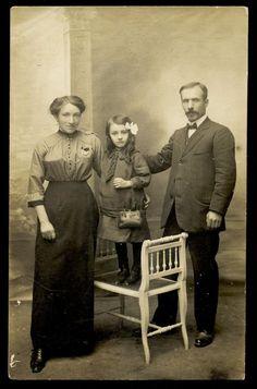 Girl with PURSE Circa 1918 Real Kodak Postcard PHOTO of Edwardian Family