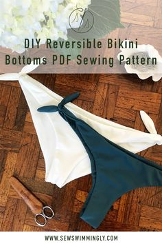 Learn how to sew these reversible tie side bikini bottoms like a pro! If you like the clean finish and comfort of seamless swimwear but are frustrated trying to figure it out then this PDF sewing pattern is for you! Click through for more details! Pdf Sewing Patterns, Sewing Tutorials, Apron Patterns, Tutorial Sewing, Sewing Hacks, Dress Patterns, Sewing Clothes, Diy Clothes, Swimsuit Pattern