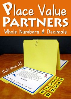 Place Value Partners Game from Laura Candler - Awesome for math centers! - Place value game includes two versions: Traditional terms and Common Core terms - Each version has several levels covering both whole numbers and decimals. Math Strategies, Math Resources, Math Activities, Place Value Activities, Math Stations, Math Centers, Fractions, Multiplication, Guided Math Groups