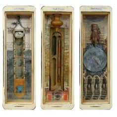 ⌼ Artistic Assemblages ⌼ Mixed Media & Collage Art - shadow box trio. Little art box. Shadow box.