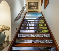 Stair Risers Murals & Decals - U. Delivery Page 16 Stair Risers, Staircase Railings, Stairways, Staircase Design, Marble Stairs, Wooden Stairs, New Wallpaper, Custom Wallpaper, Stairway Art